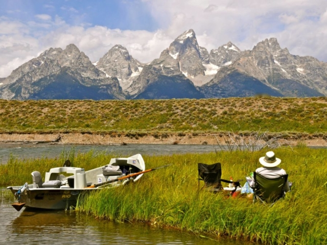 Snake River eating lunch on the banks of the snake river looking at the grand teton